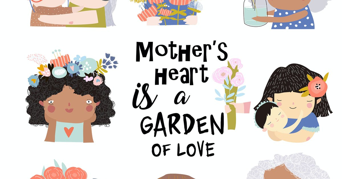 Download Vector set of cute illustrations for Mothers Day by masastarus