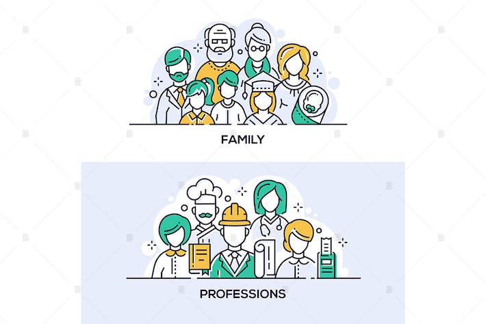Thumbnail for Family and professions vector banners set