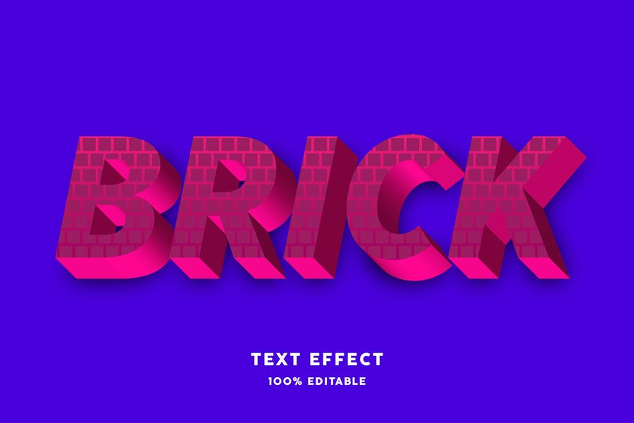 Red strong bold with brick texture text style