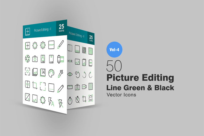 Thumbnail for 50 Picture Editing Line Green & Black Icons