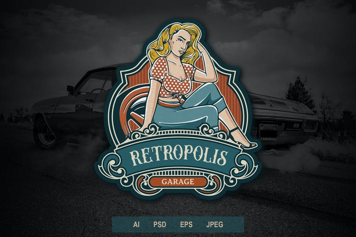 Thumbnail for Vintage Badge Logo - Automotive Pin Up Girls V2