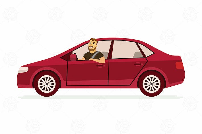Thumbnail for Young man in a car - vector illustration