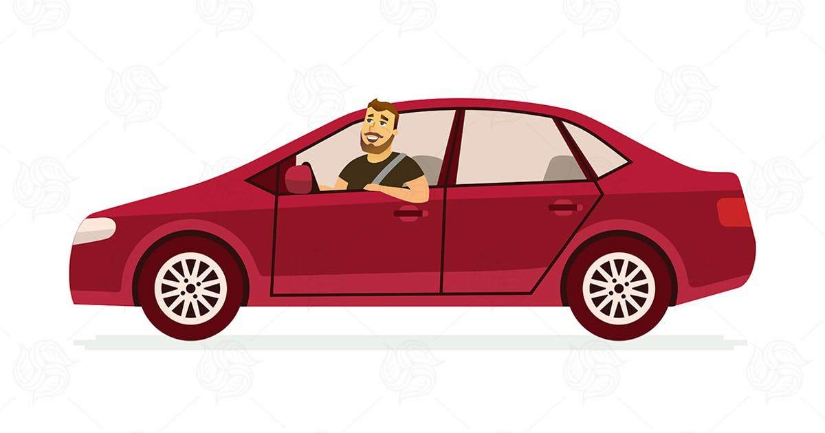 Young man in a car - vector illustration by BoykoPictures