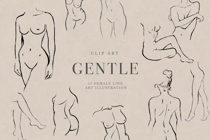 Gentle Lina Art Abstract Woman Clipart