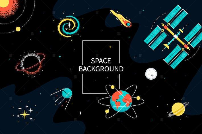 Raum-Hintergrund - flache Design-Stil-Illustration