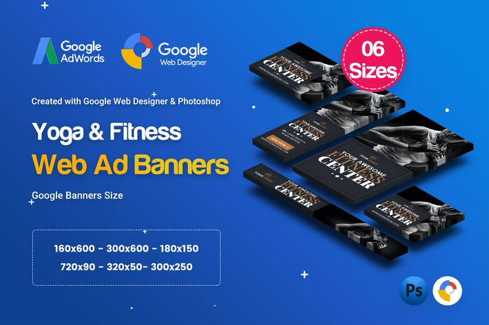 Thumbnail for C28 - Yoga & Fitness HTML5 Ad - GWD & PSD