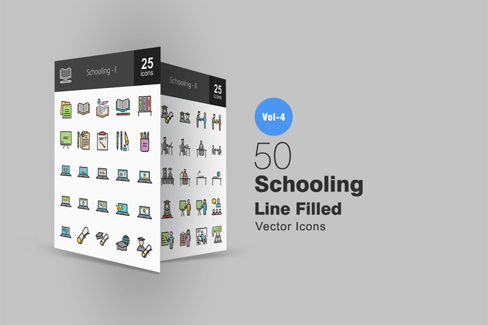 Thumbnail for 50 Schooling Line Filled Icons