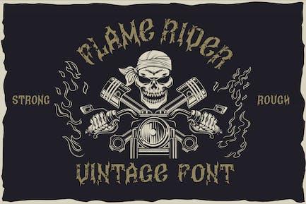 Flame rider - vintage font