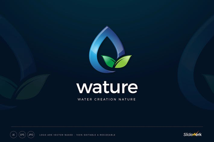 Thumbnail for Water Drop Nature Leaves Logo Template