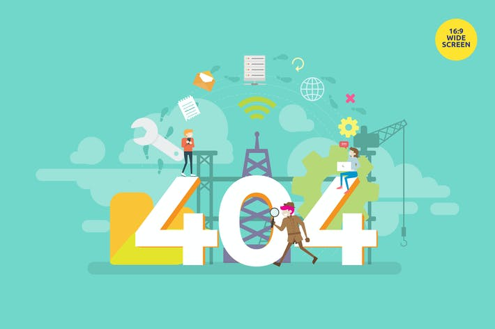 Thumbnail for 404 Error Page Vector Illustration Concept