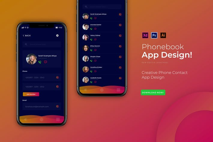 Thumbnail for Phonebook | App Design Template