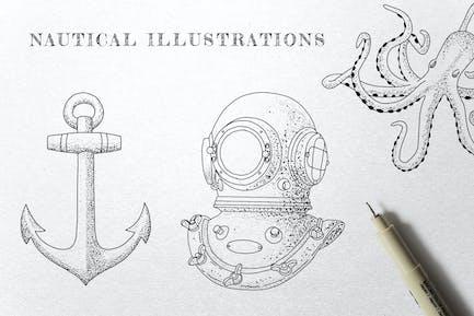 Vintage Nautical - Ink Illustrations