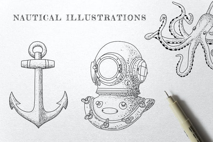 Thumbnail for Vintage Nautical - Ink Illustrations