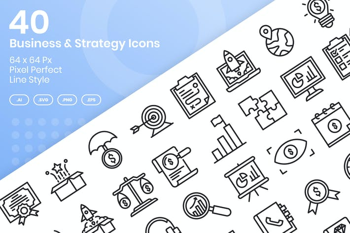 Thumbnail for 40 Business- & StrategieIcons Set - Linie