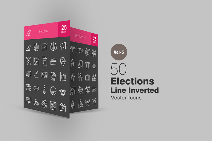 Cover Image For 50 Elections Line Inverted Icons