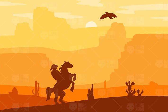 Thumbnail for Retro Wild West Hero on Galloping Horse In Desert