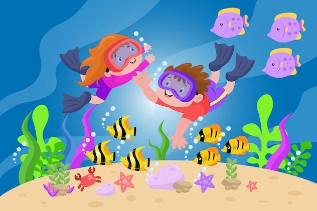 Diving Under Sea - Activity Kids Illustration