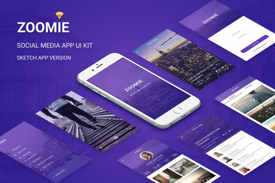 Download Zoomie - Social Media Mobile APP for Sketch by themepassion