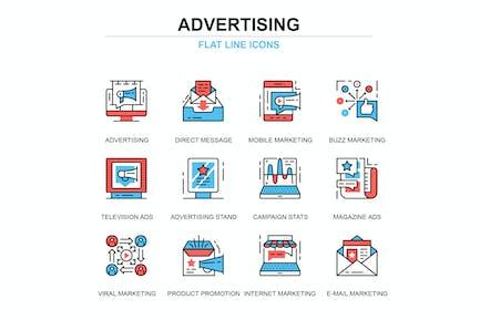 Thin Line Promo und Werbung Icons Set