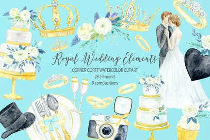 Watercolor royal wedding elements