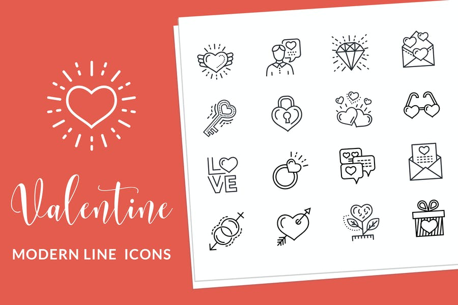 Valentine and Love Line Icons