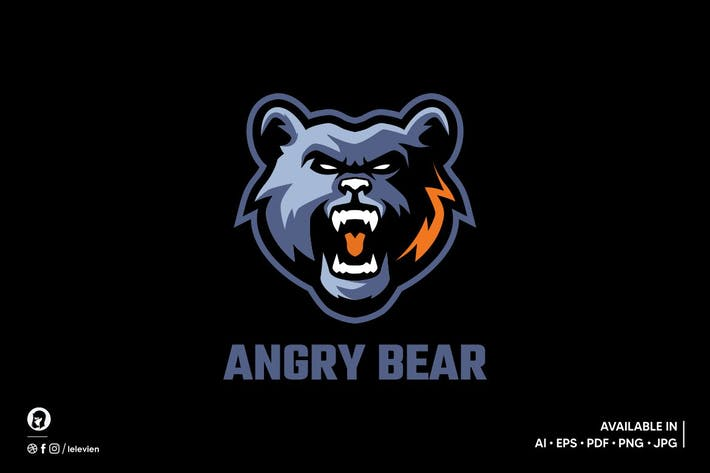 Thumbnail for Angry Bear logo template