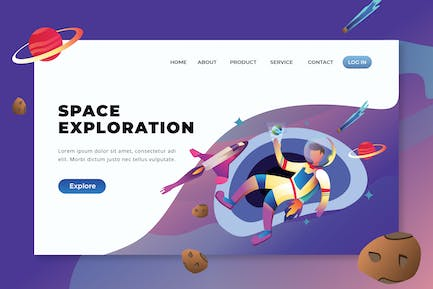 Space Exploration - PSD and AI Vector Landing Page
