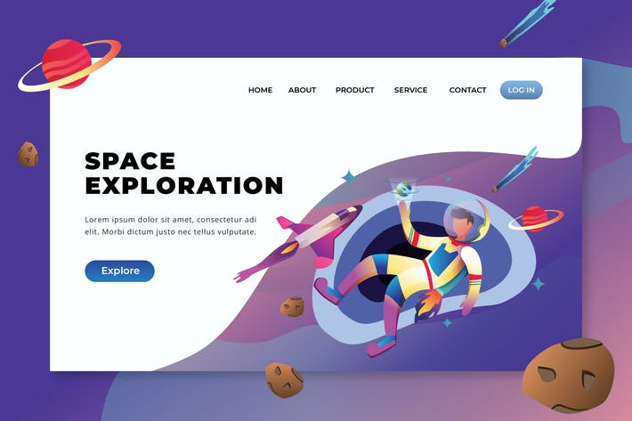Thumbnail for Space Exploration - PSD and AI Vector Landing Page