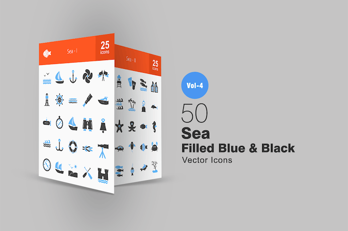 Thumbnail for 50 Sea Blue & Black Icons