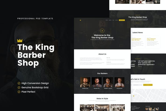 Thumbnail for The King Barber Shop PSD Template