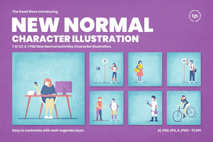 Thumbnail for New Normal Character Illustration Set