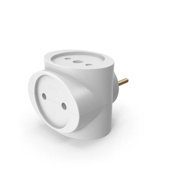CEE 7 Adapter mit drei Steckdosen