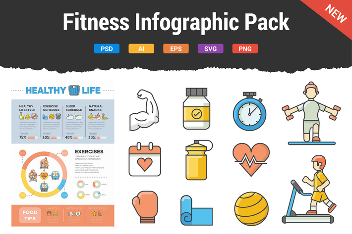 Thumbnail for Fitness Infographic Pack