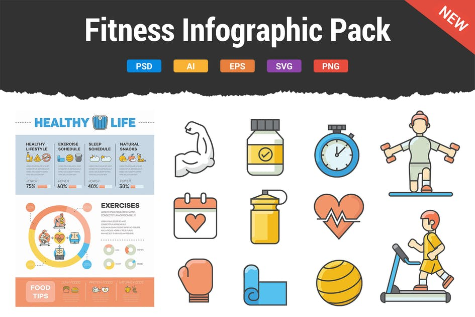 Download Fitness Infographic Pack by Krafted