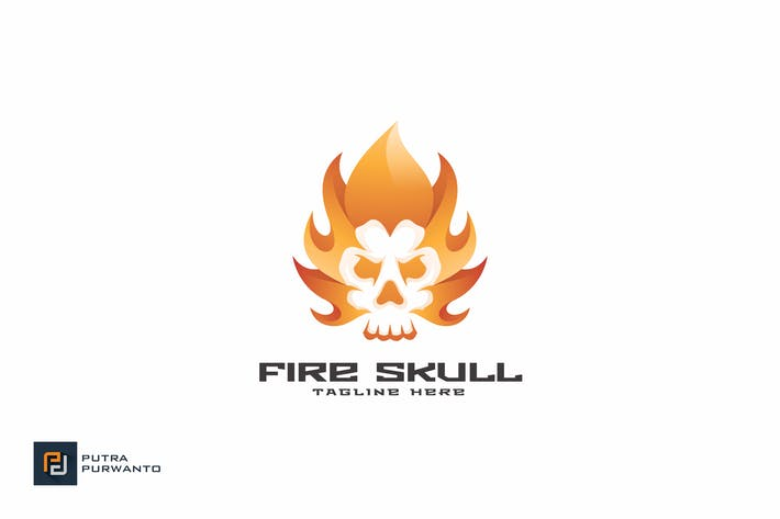 Cover Image For Fire Skull - Logo Template