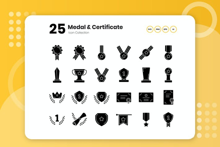 Thumbnail for 25 Medal & Certificate Glyph Icon Set
