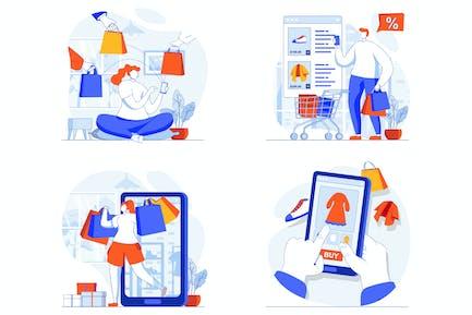 Mobile Commerce Web Concept Set