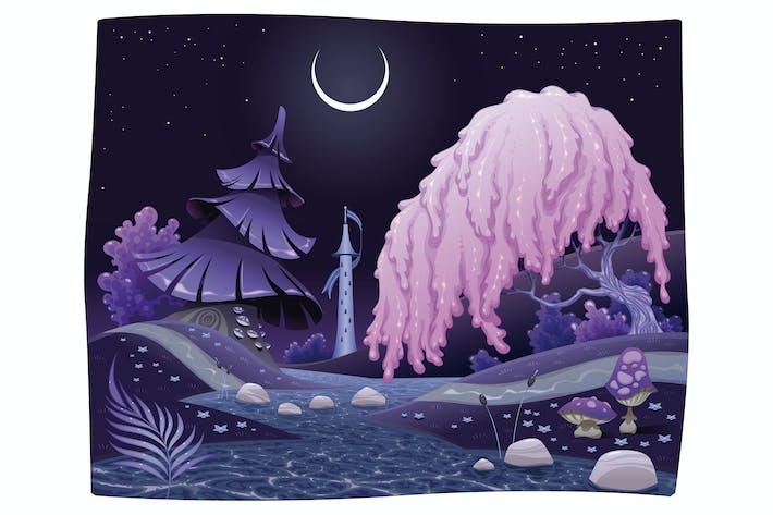 Thumbnail for Фантастический ночной пейзаж на берегу реки.