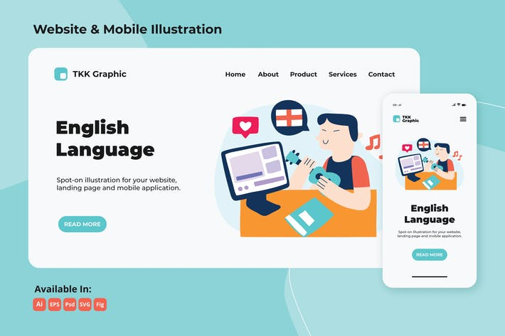 Thumbnail for Foreign language (English) e-learning web & mobile