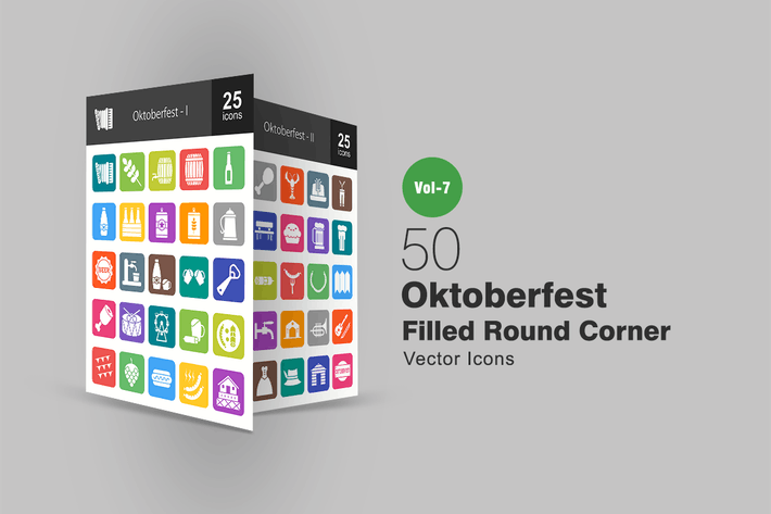 Thumbnail for 50 Oktoberfest Filled Round Corner Icons