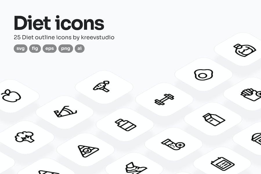 Diet Line Icons