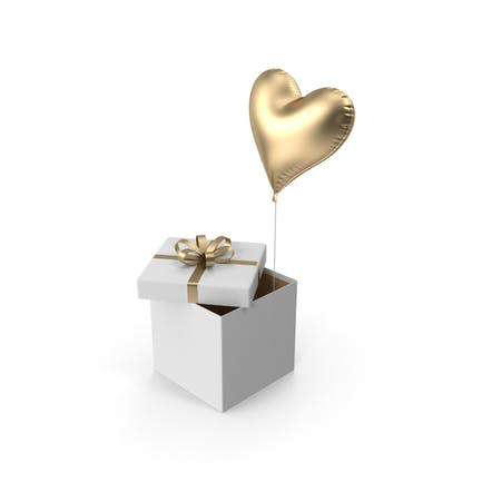 Gold Heart Balloon Box