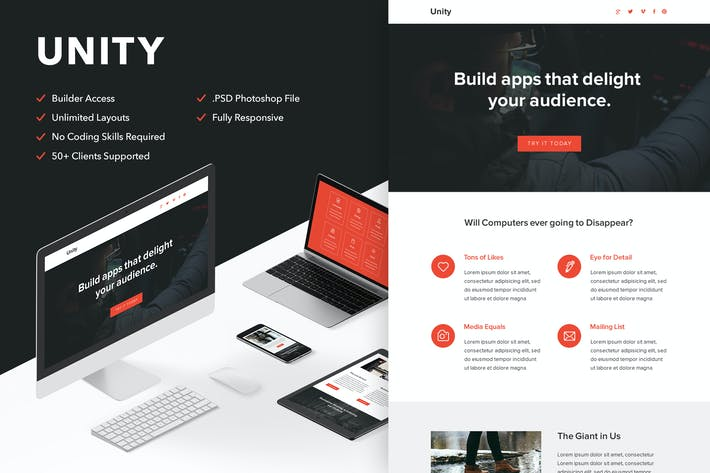 Cover Image For Unity - Responsive Email + Themebuilder Access