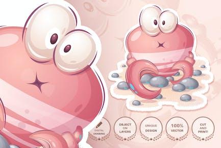 Entzückende Cartoon-Figur Tierkrabbe