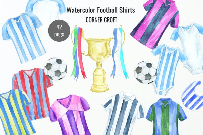 Thumbnail for Watercolour Football Shirt Illustration