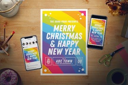 Rainbow New Year Flyer Set