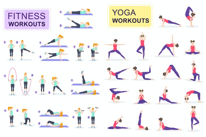 Thumbnail for Fitness and Yoga Flat People Characters