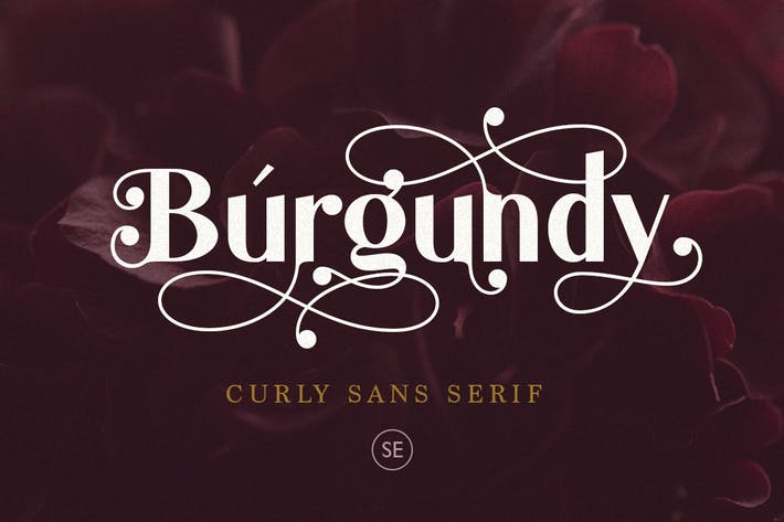 Borgoña - Curly Sans Con serifa