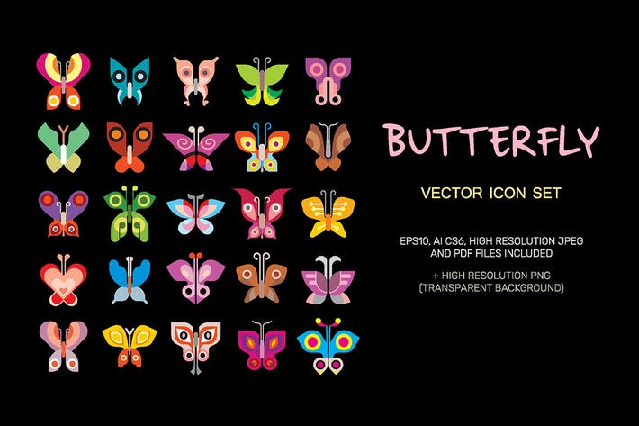 Thumbnail for Butterfly vector icon set