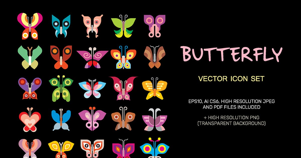 Butterfly vector icon set by danjazzia